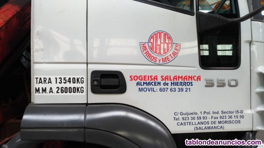 Camion iveco caja abierta con grua palfinger pk 15500