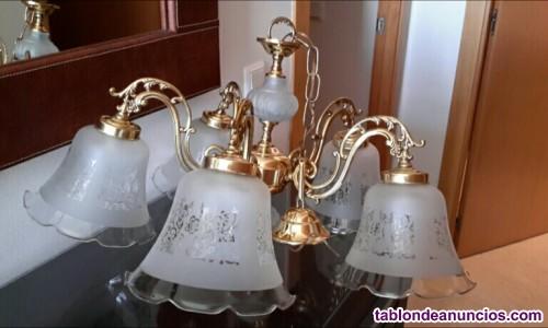 Lámpara techo latón y baño de oro. Con cristal biselado