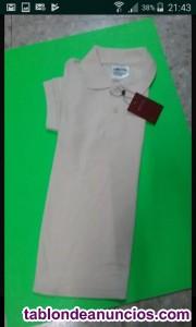 Liquidación polos color beige liso manga corta