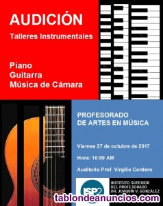 CLASES DE PIANO, GUITARRA, VIOLIN, SAXOFON, CANTO, ETC.