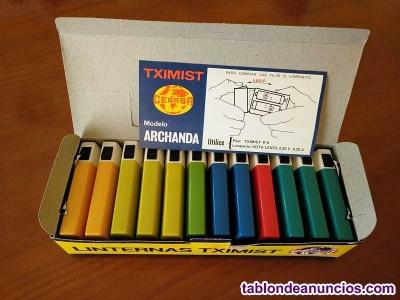 Caja completa nueva con doce linternas tximist cegasa made in spain - años 70 li