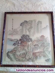 Pintura china shan shui sobre seda.