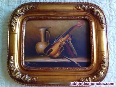 óleo bodegón con motivo musical