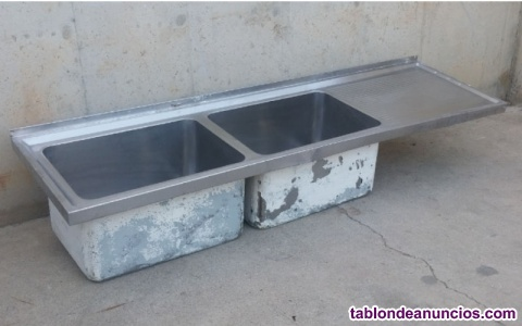 Fregadero inox 2 senos 215x60cm