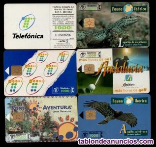 Lote 6 tarjetas telefonicas diferentes - incluye fauna iberica