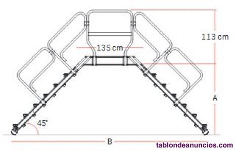 Escalera de puente en aluminio con inclinación 45º/50º/60º