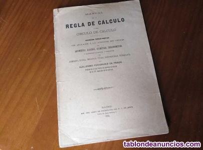 Libro de 1906 manual de la regla de cálculo y del círculo de cálculo guillermo f