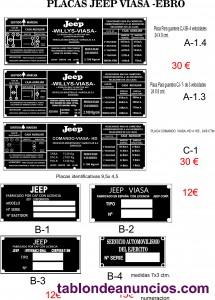 Placas identificacion y marchas  jeep willys-mb-otros