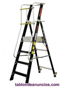 Escalera fibra con plataforma y guardacuerpo