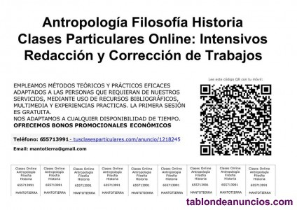 Antropologia:Coaching y  Clases Particulares Online