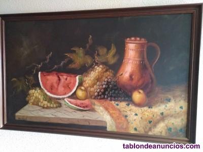 Bodegon de frutas sobre lienzo