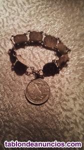 Pulsera monedas de plata engarzadas