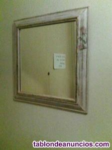 Espejo decape con motivo en decoupage, hecho  a mano