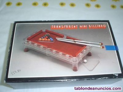 Billarin mini – transparente de 20 cms. De ancho y 5 cms. De altura, con 16 bola
