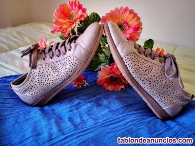 Zapatillas deportivas de piel beige t 39