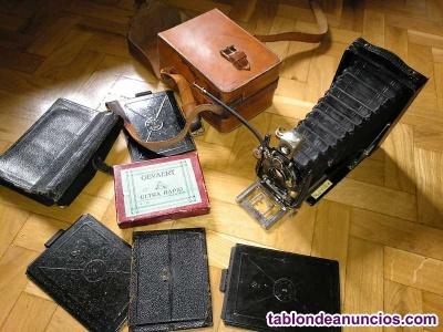 Antigua camara fotográfica de fuelle goerz tenax berlin para placas de cristal d