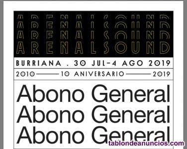 Abonos generales arenal sound 2019