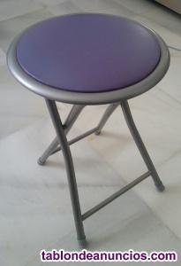 Taburete metálico plegable, de color lila