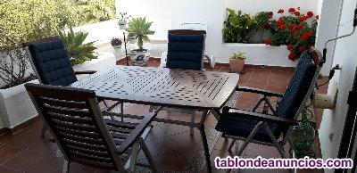 Mesa de teca y aluminio + 4 sillones