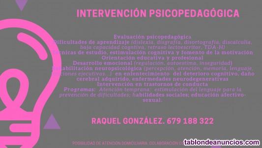 Intervención psicopedagógica. También a domicilio.