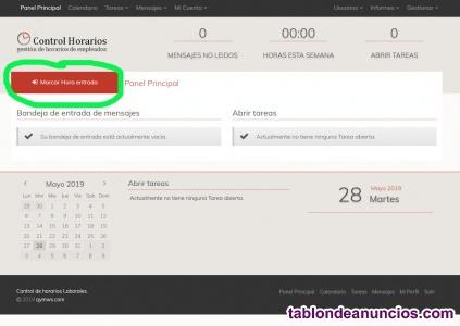 Control horario laboral- aplicación on line