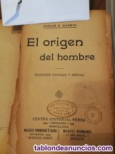 EL ORIGEN DEL HOMBRE. Libro antiguo de C. Darwing