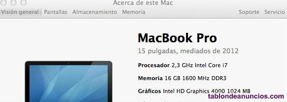 Macbook pro 152 ssd512 16gb