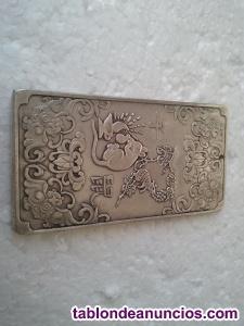 Lingote de plata tibetana. Simbología la rata. Buda zen feng shui tao china oro
