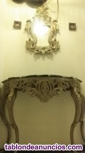 Consola con marmol y espejo