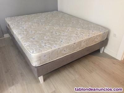 Vendo cama: base, colchón y cabecero