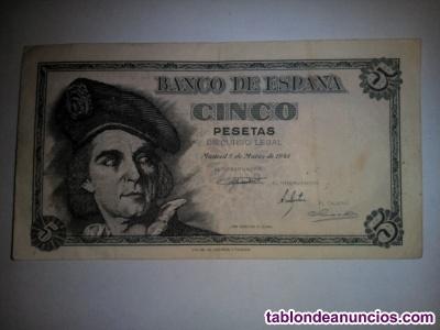 Billete españa - 5 pts - 1948 - j. S. Elcano