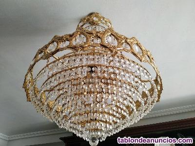 Lámpara techo cristal strass tipo cesta (Salón)