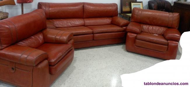 Tresillo piel goya (sofá+2sillones)