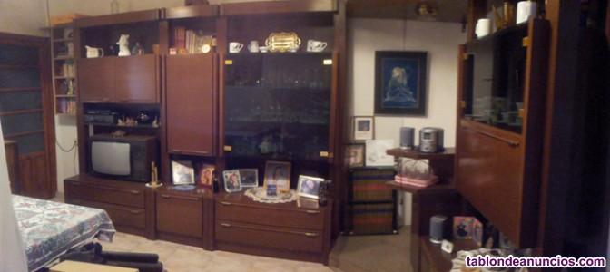 Amplio y elegante mueble bar salón, madera de alta calidad color nogal