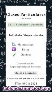 Clases Particulares matemáticas, Física y química.(todos los niveles)
