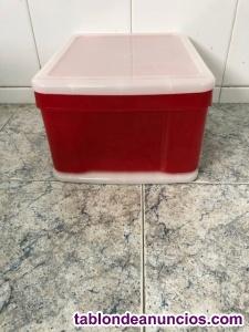 Cajón plástico apilable rojo