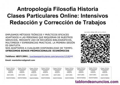 Clases particulares online antropologia filosofia historia