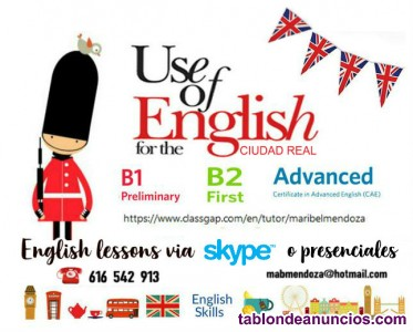Clases individuales de REPHRASING-USE OF ENGLISH en Ciudad Real
