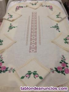 Mantel de bordado set de servilletas y pasarela rosa