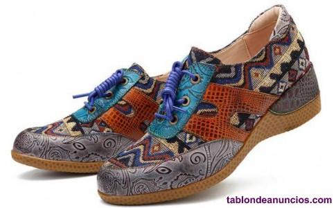 Vendo zapatos nuevos talla 39 cuero y patron jacquard
