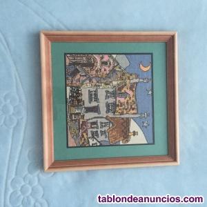 """""""curvas casas""""pintura punto de cruz bordado.nueva"""