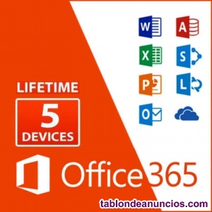 OFFICE 365 PLUS PERMANENTE 5 Pcs / MAC 5TB Drive multilanguage