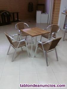 Juego de sillas y mesas aluminio