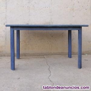 Mesa madera azul 120x75cm