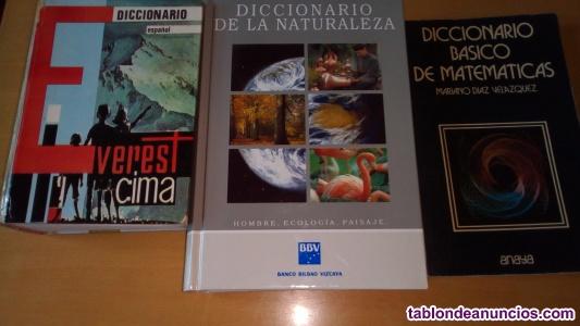 Diccionarios de español,naturalez y matemáticas
