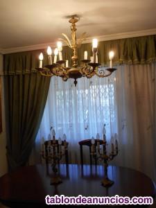 Lampara techo a juego con dos candelabros bronce