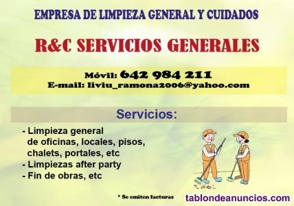 Servicios  generales de limpieza y cuidados