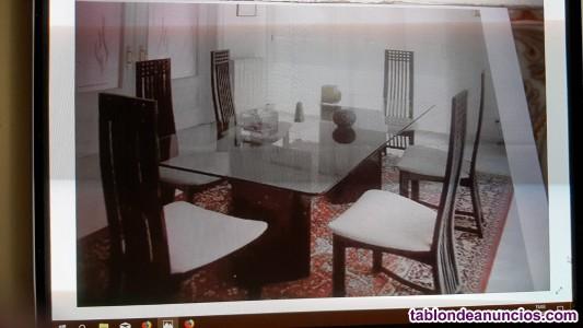 Mesa de comedor de cristal y marmaol