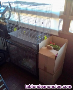 2jaulasgrandes (aves , conejo,ratas..)+accesorios