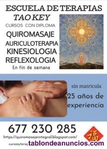 Curso  de Quiromasaje Terapeutico en 5 fines de semana, eminentemente practico, grupo reducido, sin